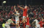 14 January 2012; Paul O'Connell, Munster, contests a lineout with Yannick Caballero, Castres Olympique. Heineken Cup, Pool 1, Round 5, Munster v Castres Olympique, Thomond Park, Limerick. Picture credit: Matt Browne / SPORTSFILE - read more