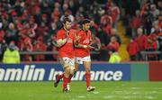 14 January 2012; Munster's Peter O'Mahony and Lifeimi Mafi applaud supporters as they leave the pitch after being substituted late in the second half. Heineken Cup, Pool 1, Round 5, Munster v Castres Olympique, Thomond Park, Limerick. Picture credit: Diarmuid Greene / SPORTSFILE