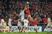 14 January 2012; Paul O'Connell, Munster, contests a line-out with Yannick Caballero, Castres Olympique. Heineken Cup, Pool 1, Round 5, Munster v Castres Olympique, Thomond Park, Limerick. Picture credit: Diarmuid Greene / SPORTSFILE - read more