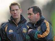 15 January 2012; Meath selector and player Graham Geraghty, left, with manager Seamus McEnaney. Bord na Mona O'Byrne Cup, Quarter-Final, Meath v Louth, Pairc Tailteann, Navan, Co. Meath. Picture credit: David Maher / SPORTSFILE
