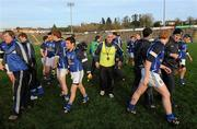 15 January 2012; Cavan manager Val Andrews, centre, with his players and back room staff after the match. Power NI Dr. McKenna Cup - Section C, Cavan v Donegal, Kingspan Breffni Park, Cavan. Picture credit: Brian Lawless / SPORTSFILE