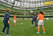 6 June 2017; Republic of Ireland international, and UCD Waves player Aine O'Gorman and Sue Ronan, Head of Womens Football take part in a drill during the Aviva Soccer Sisters Event at Aviva Stadium, in Lansdowne Rd, Dublin 4. Photo by Sam Barnes/Sportsfile