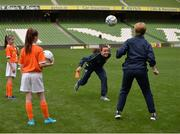 6 June 2017; Republic of Ireland international, and UCD Waves player Aine O'Gorman and Sue Ronan, Head of Womens Football for the FAI show off their skills during the Aviva Soccer Sisters Event at Aviva Stadium, in Lansdowne Rd, Dublin 4. Photo by Sam Barnes/Sportsfile