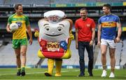 7 June 2017; The GAA and GPA are delighted to announce a new partnership with Pat the Baker to promote the new Protein Bread at Croke Park in Dublin. The five year revenue share agreement will see a percentage of all sales going towards the GPA Player Development Programme, supported by the GAA. The Programme assists county players in critical areas of their off-field lives including education, career and personal development, health and wellbeing. In attendance at the launch are, from left, Donegal footballer Michael Murphy, former Dublin footballer Alan Brogan and Tipperary hurler Padraic Maher. Photo by Brendan Moran/Sportsfile