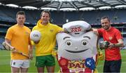 7 June 2017; The GAA and GPA are delighted to announce a new partnership with Pat the Baker to promote the new Protein Bread at Croke Park in Dublin. The five year revenue share agreement will see a percentage of all sales going towards the GPA Player Development Programme, supported by the GAA. The Programme assists county players in critical areas of their off-field lives including education, career and personal development, health and wellbeing. In attendance at the launch are, from left, Tipperary hurler Padraic Maher, Donegal footballer Michael Murphy and former Dublin footballer Alan Brogan. Photo by Brendan Moran/Sportsfile