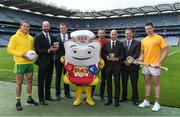 7 June 2017; The GAA and GPA are delighted to announce a new partnership with Pat the Baker to promote the new Protein Bread at Croke Park in Dublin. The five year revenue share agreement will see a percentage of all sales going towards the GPA Player Development Programme, supported by the GAA. The Programme assists county players in critical areas of their off-field lives including education, career and personal development, health and wellbeing. In attendance at the launch are, from left, Donegal footballer Michael Murphy Dermot Earley, CEO, GPA, Declan Fitzgerald, CEO, Pat the Baker, former Dublin footballer Alan Brogan, Joe Curran, Head of Sales Operations, Pat the Baker, Peter McKenna, Commercial Director, GAA and Tipperary hurler Padraic Maher Photo by Brendan Moran/Sportsfile