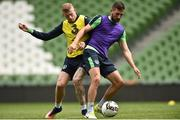 7 June 2017; Conor Hourihane, right, and James McClean of the Republic of Ireland during squad training at the Aviva Stadium in Dublin. Photo by David Maher/Sportsfile