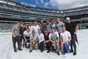 7 June 2017; Ireland players, back row, from left, Andrew Conway, Luke McGrath, Dave Heffernan, Josh van der Flier, James Tracy, Jack Conan, Rhys Ruddock, Tiernan O'Halloran, Dan Leavy and Andrew Porter. Front row, from left, John Cooney, MetLife stadium tour guides, Kieran Marmion and Rory O'Loughlin, on a tour of the MetLife Stadium in New Jersey during the team's down day ahead of their match against USA. Photo by Ramsey Cardy/Sportsfile