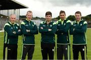 7 June 2017; The Kerry management team, from left to right, Mikey Sheehy, Liam Hassett, manager Eamonn Fitzmaurice, Maurice Fitzgerald, and Padraig Corcoran. Kerry Football headshots at Fitzgerald Stadium in Killarney, Co Kerry.  Photo by Diarmuid Greene/Sportsfile