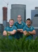 8 June 2017; Ireland's John Ryan, left, Devin Toner, centre, and Tiernan O'Halloran following a press conference at the Hyatt Regency Hotel in Jersey City, New Jersey, USA. Photo by Ramsey Cardy/Sportsfile