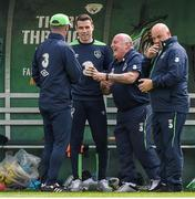 9 June 2017; Republic of Ireland assistant manager Roy Keane with Seamus Coleman and equipment officer Dick Redmond during squad training at the FAI National Training Centre in Abbotstown, Dublin. Photo by David Maher/Sportsfile