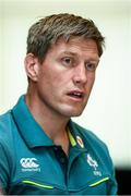 9 June 2017; Ireland coach Ronan O'Gara during a press conference at the Hyatt Regency Hotel in Jersey City, New Jersey, USA. Photo by Ramsey Cardy/Sportsfile