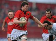 14 January 2012; Donnacha Ryan, Munster, in action against Vincent Inigo, Castres Olympique. Heineken Cup, Pool 1, Round 5, Munster v Castres Olympique, Thomond Park, Limerick. Picture credit: Matt Browne / SPORTSFILE - read more