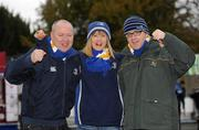 21 January 2012; Leinster supporters from left, Dara Wyer, Maria Wyer, from Prosperous, Co. Kildare, and John Purcell, from Athgarvan, Co. Kildare, at the game. Heineken Cup, Pool 3, Round 6, Leinster v Montpellier, RDS, Ballsbridge, Dublin. Picture credit: Barry Cregg / SPORTSFILE
