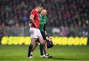 10 June 2017; Jonathan Sexton of the British & Irish Lions with British and Irish Lions head of medical Eanna Falvey  during the match between Crusaders and the British & Irish Lions at AMI Stadium in Christchurch, New Zealand. Photo by Stephen McCarthy/Sportsfile