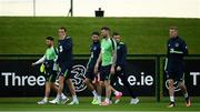 10 June 2017;  Republic of Ireland players, from left, Wes Hoolahan, John O'Shea, Robbie Brady, Daryl Myrphy, Seamus Coleman and James McClean during squad training at the FAI National Training Centre in Abbotstown, Dublin. Photo by Sam Barnes/Sportsfile
