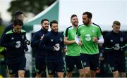 10 June 2017; Wes Hoolahan, centre left, and Richard Keogh of Republic of Ireland during squad training at the FAI National Training Centre in Abbotstown, Dublin. Photo by Sam Barnes/Sportsfile