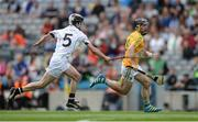 10 June 2017; James Glancy of Leitrim in action against John Collins of Warwickshire during the Lory Meagher Cup Final match between Leitrim and Warwickshire at Croke Park in Dublin. Photo by Piaras Ó Mídheach/Sportsfile