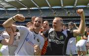 10 June 2017; Liam Watson of Warwickshire and manager Tony Joyce celebrate after the Lory Meagher Cup Final match between Leitrim and Warwickshire at Croke Park in Dublin. Photo by Piaras Ó Mídheach/Sportsfile