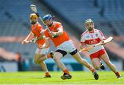 10 June 2017; Connor Corvan of Armagh in action against Paul Cleary of Derry during the Nicky Rackard Cup Final match between Armagh and Derry at Croke Park in Dublin. Photo by Piaras Ó Mídheach/Sportsfile