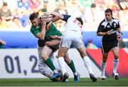 10 June 2017; Rory Scannell of Ireland is tackled by AJ MacGinty of USA during the international match between Ireland and USA at the Red Bull Arena in Harrison, New Jersey, USA. Photo by Ramsey Cardy/Sportsfile