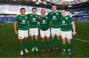 10 June 2017; Ireland debutants, from left, Dave Heffernan, Jacob Stockdale, Andrew Porter, James Ryan and Rory Scannell following their victory in the international match between Ireland and USA at the Red Bull Arena in Harrison, New Jersey, USA. Photo by Ramsey Cardy/Sportsfile