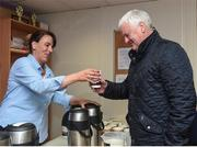 11 June 2017; Siobhan Dunne making a cup of tea for GAA President Aogán Ó Fearghaíl prior to the Ulster GAA Football Senior Championship Quarter-Final match between Cavan and Monaghan at Kingspan Breffni in Cavan. Photo by Philip Fitzpatrick/Sportsfile