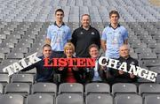 23 January 2012; Vodafone today announced that it will donate its logo space on the Dublin jersey for the first games of the National League to Vodafone Foundation charity partner SOS in an effort to promote awareness of mental health issues in Ireland. In attendance at the announcement are, front row, from left, former WBA Super Bantamweight World Champion Bernard Dunne, CEO and founder of SOS Caroline McGuigan, Vodafone Strategy Director Paul Ryan and Dublin County Board Chairman Andy Kettle and back row, from left, Dublin footballer James McCarthy, Dublin hurling manager Anthony Daly and Dublin footballer Michael Fitzsimons. Vodafone Charity Initiative, Croke Park, Dublin. Picture credit: Paul Mohan / SPORTSFILE