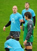 24 January 2012; Ireland captain Paul O'Connell, alongside team-mates Jamie Heaslip and Donncha O'Callaghan, during squad training ahead of their RBS Six Nations Rugby Championship game against Wales on February 5th. Ireland Rugby Squad Training, University of Limerick, Limerick. Picture credit: Diarmuid Greene / SPORTSFILE
