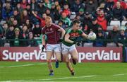 11 June 2017; Cillian O'Connor of Mayo in action against Declan Kyne of Galway during the Connacht GAA Football Senior Championship Semi-Final match between Galway and Mayo at Pearse Stadium, in Salthill, Galway. Photo by Ray McManus/Sportsfile