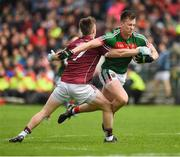 11 June 2017; Cillian O'Connor of Mayo in action against David Wynne of Galway during the Connacht GAA Football Senior Championship Semi-Final match between Galway and Mayo at Pearse Stadium, in Salthill, Galway. Photo by Ray McManus/Sportsfile
