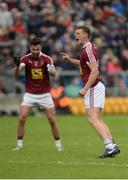11 June 2017; John Heslin of Westmeath celebrates kicking the equalising score from a free with the last score of the game with team-mate Paul Sharry, left, during the Leinster GAA Football Senior Championship Quarter-Final match between Offaly and Westmeath at Bord Na Móna O'Connor Park, Tullamore, in Co. Offaly. Photo by Piaras Ó Mídheach/Sportsfile