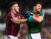 11 June 2017; Chris Barrett of Mayo in action against Damien Comer of Galway during the Connacht GAA Football Senior Championship Semi-Final match between Galway and Mayo at Pearse Stadium, in Salthill, Galway. Photo by Ray McManus/Sportsfile