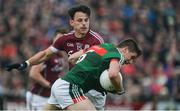 11 June 2017; Lee Keegan of Mayo in action against Seán Armstrong of Galway during the Connacht GAA Football Senior Championship Semi-Final match between Galway and Mayo at Pearse Stadium, in Salthill, Galway. Photo by Daire Brennan/Sportsfile