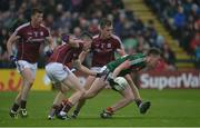 11 June 2017; Cillian O'Connor of Mayo in action against Johnny Heaney, left, and Liam Silke of Galway during the Connacht GAA Football Senior Championship Semi-Final match between Galway and Mayo at Pearse Stadium, in Salthill, Galway. Photo by Daire Brennan/Sportsfile