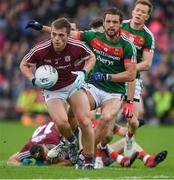11 June 2017; Liam Silke of Galway in action against Tom Parsons of Mayo during the Connacht GAA Football Senior Championship Semi-Final match between Galway and Mayo at Pearse Stadium, in Salthill, Galway. Photo by Ray McManus/Sportsfile