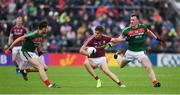 11 June 2017; Paul Conroy of Galway in action against Ger Cafferkey, left, and Cillian O'Connor of Mayo during the Connacht GAA Football Senior Championship Semi-Final match between Galway and Mayo at Pearse Stadium, in Salthill, Galway. Photo by Ray McManus/Sportsfile