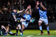 3 November 2017; Jamison Gibson-Park, left, and Mick Kearney of Leinster charge down a kick by George Horne of Glasgow Warriors during the Guinness PRO14 Round 8 match between Glasgow Warriors and Leinster at Scotstoun in Glasgow, Scotland. Photo by Ramsey Cardy/Sportsfile