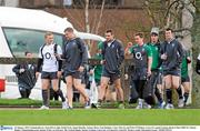26 January 2012; Ireland players, from left to right, Keith Earls, Jamie Heaslip, Tommy Bowe, Eoin Reddan, Conor Murray and Peter O'Mahony arrive for squad training ahead of their RBS Six Nations Rugby Championship game against Wales on February 5th. Ireland Rugby Squad Training, University of Limerick, Limerick. Picture credit: Diarmuid Greene / SPORTSFILE