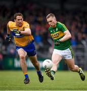 11 June 2017; Peter Crowley of Kerry in action against Gary Brennan of Clare during the Munster GAA Football Senior Championship Semi-Final match between Kerry and Clare at Cusack Park, in Ennis, Co. Clare. Photo by Sam Barnes/Sportsfile