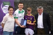 12 June 2017; Luke Roche from Shelmaliers GAA Club, Co Wexford, pictured with Dublin's Liam Rushe, Anne-Claire Monde, left, John West Marketing Manager, and Martin Skelly, right, Chairman, National Féile Committee, after placing third in the boys hurling competition at the John West Skills Day in the National Sports Campus on Saturday 10th June. The Skills Day is an opportunity for Ireland's rising football, hurling & camogie stars to show their skills ahead of the John West Féile na nÓg and John West Féile na nGael competitions. At Abbottstown in Dublin.  Photo by Cody Glenn/Sportsfile
