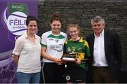 12 June 2017; Amy O'Sullivan from Cillard Camogie Club, Co Kerry, pictured with Carlow's Kate Nolan, Anne-Claire Monde, left, John West Marketing Manager, and Martin Skelly, right, Chairman, National Féile Committee, after winning the camogie competition at the John West Skills Day in the National Sports Campus on Saturday 10th June. The Skills Day is an opportunity for Ireland's rising football, hurling & camogie stars to show their skills ahead of the John West Féile na nÓg and John West Féile na nGael competitions. At Abbottstown in Dublin.  Photo by Cody Glenn/Sportsfile