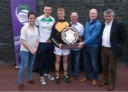 12 June 2017; First-place finisher John Doheny, centre, from Fenians GAA Club, Co Kilkenny, pictured with, from left, Anne-Claire Monde, John West Marketing Manager, Dublin's Liam Rushe, brothers Conor Ahern and Shane Ahern, sons of Peadar Ahern, namesake of the Peadar Ahern Féile na nGael Skills Trophy, and Martin Skelly, Chairman, National Féile Committee, after winning the boys hurling competition at the John West Skills Day in the National Sports Campus on Saturday 10th June. The Skills Day is an opportunity for Ireland's rising football, hurling & camogie stars to show their skills ahead of the John West Féile na nÓg and John West Féile na nGael competitions. At Abbottstown in Dublin.  Photo by Cody Glenn/Sportsfile