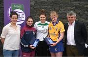 12 June 2017; Co-second place finishers Katie Gilchrist, centre left, from Shamrocks GAA Club, Co Galway, and Alanna Fox, centre right, from Feakle GAA, Co Clare, pictured with Carlow's Kate Nolan, Anne-Claire Monde, left, John West Marketing Manager, and Martin Skelly, right, Chairman, National Féile Committee, after competing in the camogie competition at the John West Skills Day in the National Sports Campus on Saturday 10th June. The Skills Day is an opportunity for Ireland's rising football, hurling & camogie stars to show their skills ahead of the John West Féile na nÓg and John West Féile na nGael competitions. At Abbottstown in Dublin.  Photo by Cody Glenn/Sportsfile