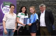 12 June 2017; Emma Kane from Kilmacud Crokes GAA Club, Co Dublin, pictured with Cavan's Aisling Doonan, Anne-Claire Monde, left, John West Marketing Manager, and Martin Skelly, right, Chairman, National Féile Committee, after placing third in the girls football competition at the John West Skills Day in the National Sports Campus on Saturday 10th June. The Skills Day is an opportunity for Ireland's rising football, hurling & camogie stars to show their skills ahead of the John West Féile na nÓg and John West Féile na nGael competitions. At Abbottstown in Dublin.  Photo by Cody Glenn/Sportsfile