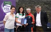 12 June 2017; Orla Hennessy from Timahoe Ladies GAA Club, Co Laois, pictured with Cavan's Aisling Doonan, Anne-Claire Monde, left, John West Marketing Manager, and Martin Skelly, right, Chairman, National Féile Committee, after placing second in the girls football competition at the John West Skills Day in the National Sports Campus on Saturday 10th June. The Skills Day is an opportunity for Ireland's rising football, hurling & camogie stars to show their skills ahead of the John West Féile na nÓg and John West Féile na nGael competitions. At Abbottstown in Dublin.  Photo by Cody Glenn/Sportsfile