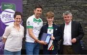 12 June 2017; Diarmuid King, from Co Fermanagh, pictured with Donegal's Rory Kavanagh, Anne-Claire Monde, left, John West Marketing Manager, and Martin Skelly, right, Chairman, National Féile Committee, after placing third in the boys football competition at the John West Skills Day in the National Sports Campus on Saturday 10th June. The Skills Day is an opportunity for Ireland's rising football, hurling & camogie stars to show their skills ahead of the John West Féile na nÓg and John West Féile na nGael competitions. At Abbottstown in Dublin.  Photo by Cody Glenn/Sportsfile