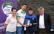 12 June 2017; First-place finisher Oisin Hooney, from St Joseph's GAA Club, Co Laois, pictured with Donegal's Rory Kavanagh, Anne-Claire Monde, left, John West Marketing Manager, and Martin Skelly, right, Chairman, National Féile Committee, after winning the boys football competition at the John West Skills Day in the National Sports Campus on Saturday 10th June. The Skills Day is an opportunity for Ireland's rising football, hurling & camogie stars to show their skills ahead of the John West Féile na nÓg and John West Féile na nGael competitions. At Abbottstown in Dublin.  Photo by Cody Glenn/Sportsfile