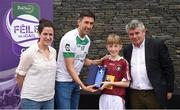 12 June 2017; Liam Maxwell, from Rosemount GAA Club, Co Westmeath, pictured with Donegal's Rory Kavanagh, Anne-Claire Monde, left, John West Marketing Manager, and Martin Skelly, right, Chairman, National Féile Committee, after placing second in the boys football competition at the John West Skills Day in the National Sports Campus on Saturday 10th June. The Skills Day is an opportunity for Ireland's rising football, hurling & camogie stars to show their skills ahead of the John West Féile na nÓg and John West Féile na nGael competitions. At Abbottstown in Dublin.  Photo by Cody Glenn/Sportsfile