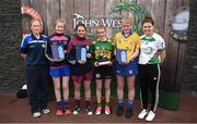 12 June 2017; First-place finisher Amy O'Sullivan from Cillard Camogie Club, Co Kerry, fourth from left, pictured alongside co-second place finishers Katie Gilchrist from Shamrocks GAA Club, Co Galway, third from left, Alanna Fox, from Feakle GAA Club, Co Clare, fifth from left, third place finisher Rebecca Farrell from Knockavilla Donaskeigh Kickhams GAA Club, Co Tipperary, second from left, camogie coach Kathleen Egan, far left, and Carlow's Kate Nolan after participating in the camogie competition at the John West Skills Day in the National Sports Campus on Saturday 10th June. The Skills Day is an opportunity for Ireland's rising football, hurling & camogie stars to show their skills ahead of the John West Féile na nÓg and John West Féile na nGael competitions. At Abbottstown in Dublin. Photo by Cody Glenn/Sportsfile